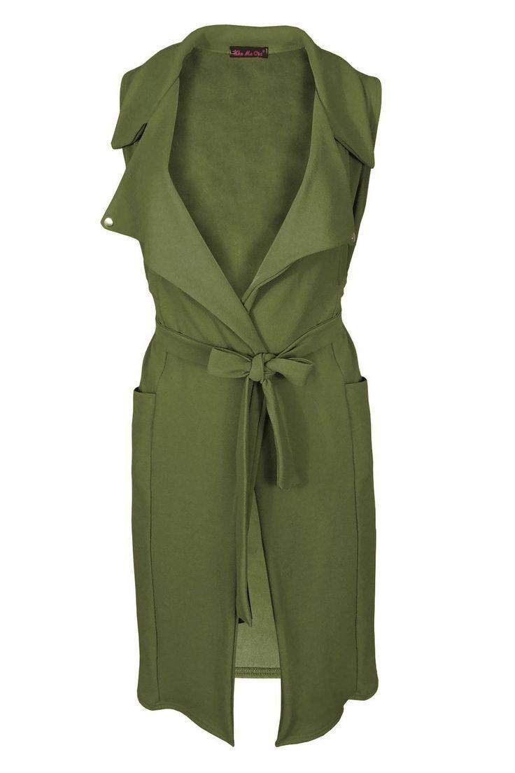 Samantha's Womens Celeb Crepe Waistcoat Sleeveless Long Blazer Belted Cape Stylish Cardigan: Amazon.co.uk: Clothing