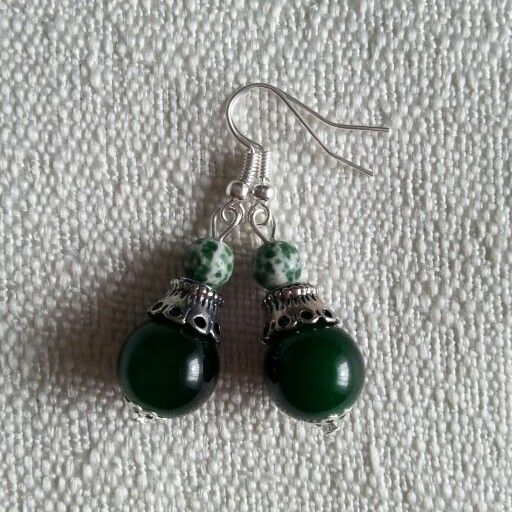 #earrings #handmade #green