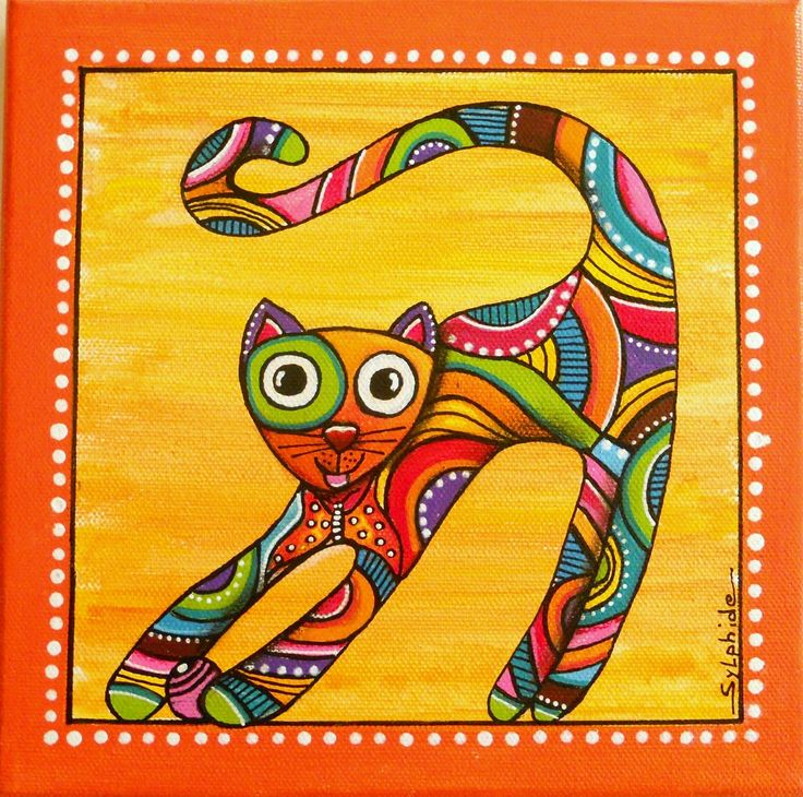 Un tableau du chat joueur et tr s color papillon - Tableau de chat moderne ...