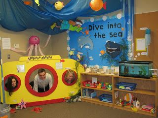 Ocean theme: sub themed (reading corner), ocean wave decor on ceiling, and ocean themed projects on the bulletin board on display for parents to see (before the children to their crafts home at the end of the themed unit party just before the next new them start).