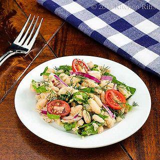 White Bean, Tuna, and Swiss Chard Salad @kitchenriffs
