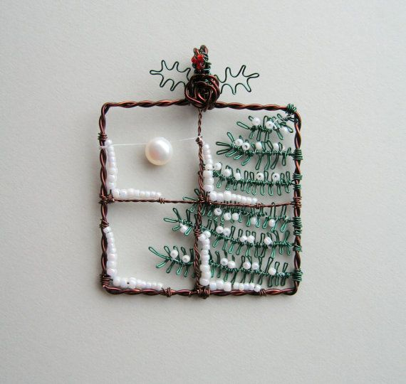 Midwinter - wire wrapped snowy Winter Christmas tree window pendant with moon and holly--so cute