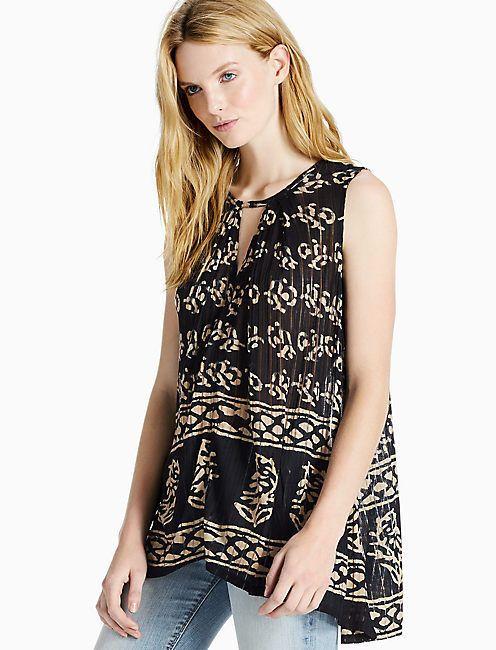 Lucky Brand Women's Drop Needle Knit Tunic Top Keyhole Vneck Sleeveless Size S M #LuckyBrand #Tunic #Casual