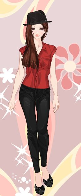 Online dress-up games -  Black and red