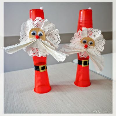Santa Ornament Ideas - made from plastic cups, white paper doilies, mobile eyes, etc