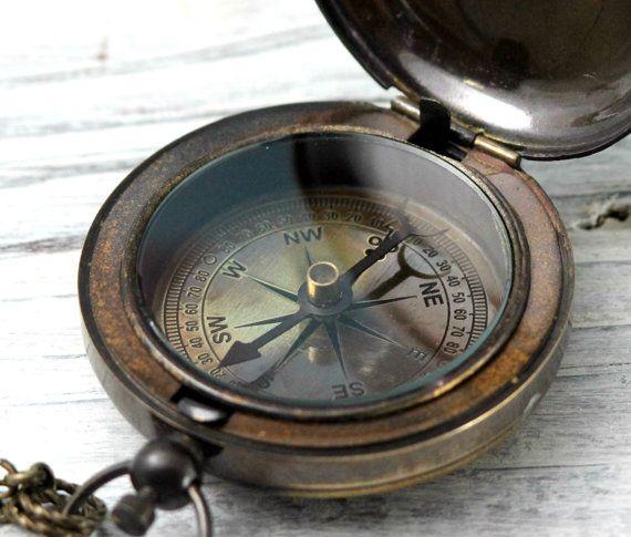 """Kompass, reproduziert Antik Finish """"Ship"""" nautische Messing Druckknopf Tasche oder Halskette CP01"""
