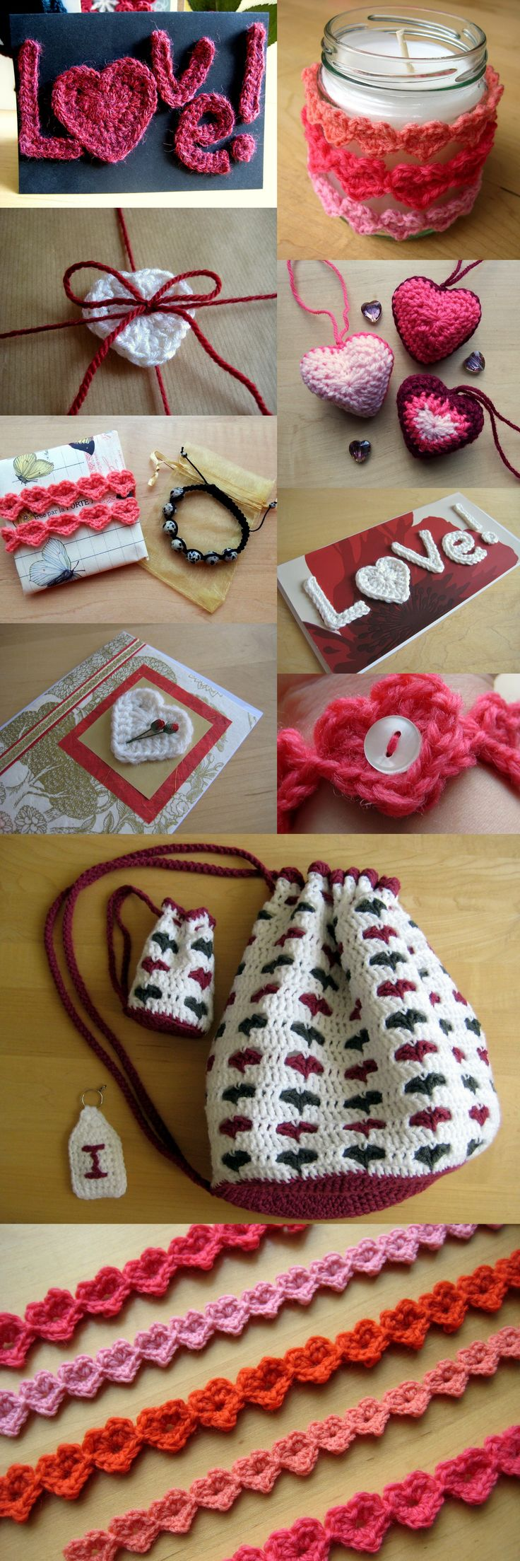Love Hearts - Free Crochet Patterns from Make My Day Creative - just in time for Valentine's Day!