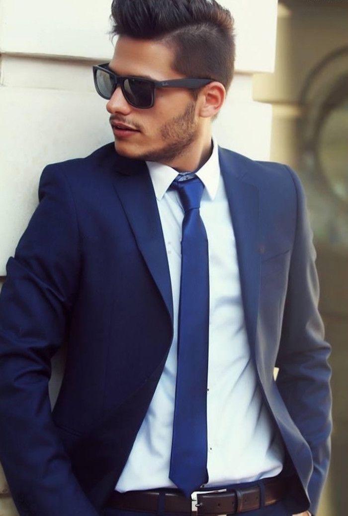 modele costume bleu marine homme cravate chemise blanche 8a0ec2d4b99