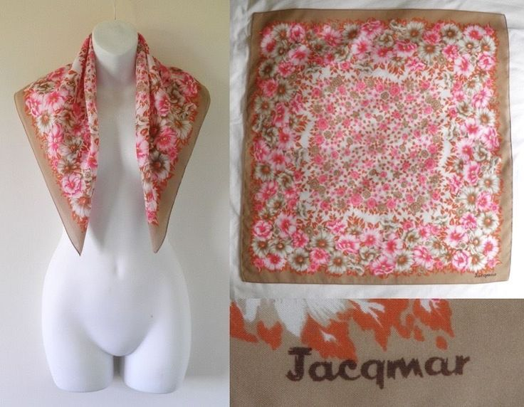 Original VTG 50s JACQMAR Signed Square Faux Silk Pink Flower Head Scarf Ladies L