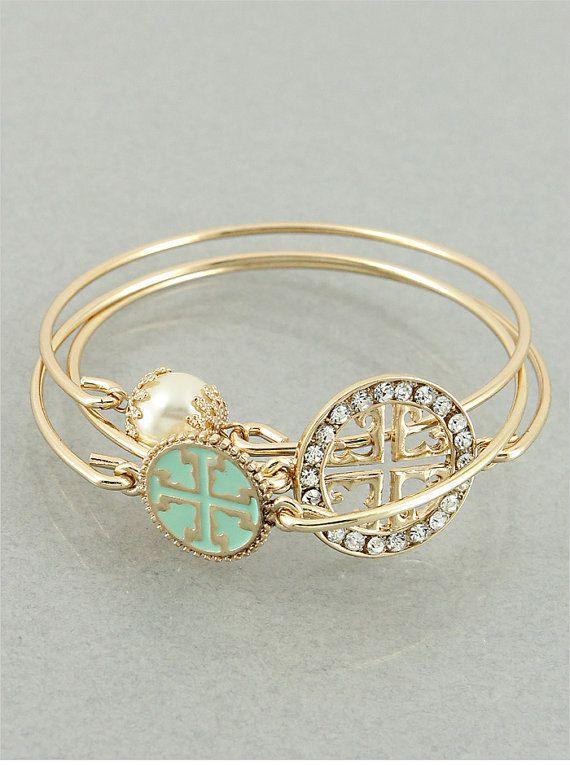 Set of 3 Mint and Goldtone Cross Bangle by JewelJunkieShop on Etsy