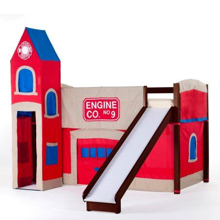 Hillsdale School House Junior Loft Bed With Slide And Firehouse Tent, Cherry, Red