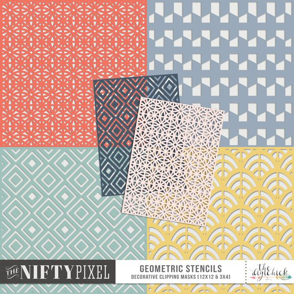 GEOMETRIC STENCILS | Clipping Masks This pack of patterned stencils are perfect for using as masks to add some spritzed texture to your backgrounds, clip papers or to emboss your backgrounds with. The applications are many giving your so many creative techniques to try out.  PACK INCLUDES:  4 12X12 Pattern Stencils 4 3X4 Pattern Stencils