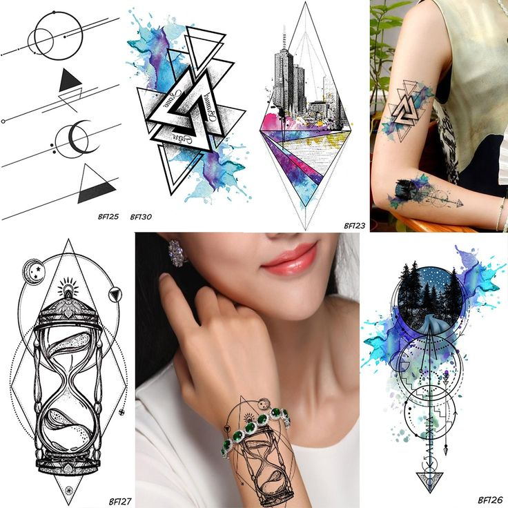 Geometry Rhombus Trangle Temporary Male Tattoo Galaxy Forest Body Art Painting Arm Sleeve Tatoos Watercolor Fake Tattoo Stickers   – BestTattoo