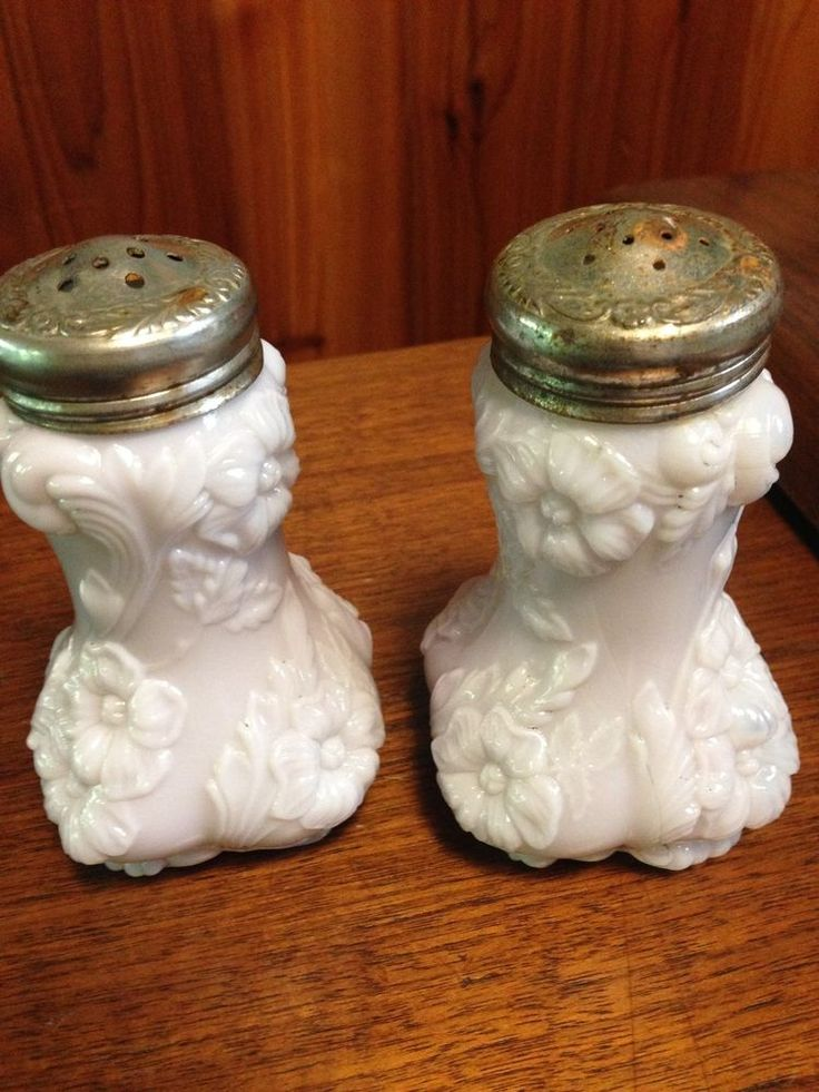 Antique Cabbage Rose Salt and Pepper Shakers Milk Glass late 1800's