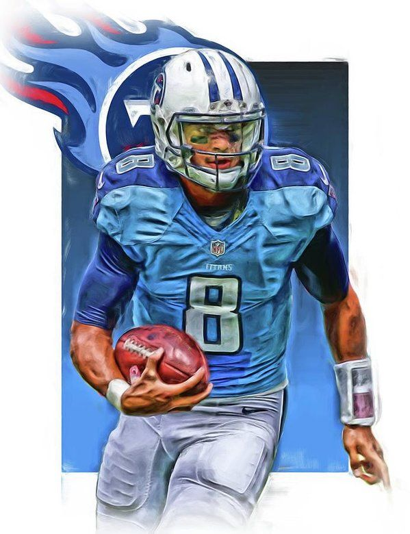 Marcus Mariota Print featuring the mixed media Marcus Mariota Tennessee Titans Oil Art by Joe Hamilton