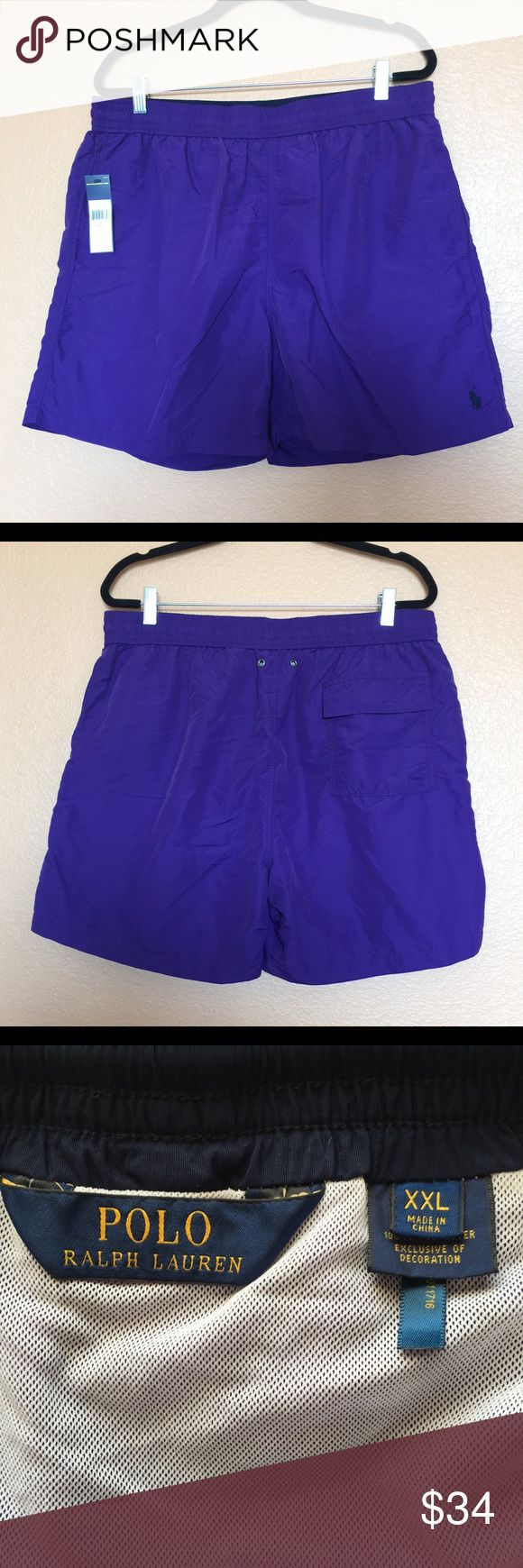 """RALPH LAUREN Men's Swim Trunks Classic Size XXL New with retail tag $59.50. Ralph Lauren Swimming Shorts color Purple. Draw String Waist, 2 side pockets, 1 rear Velcro pocket, Built in Underwear. Shell - 100% Nylon, Lining - 100% Polyester. Measures 17.75"""" Waist before stretch, 19"""" Length. CONDITION: Item may have been tried on by customers in store. Item color appearance may vary slightly depending on lightning, camera flash, etc. from provided picture(s).  NOTE: keep in mind each product…"""