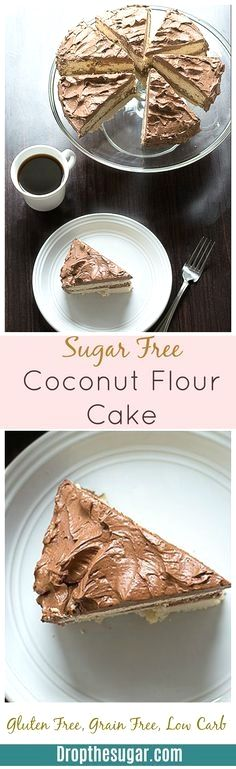 Sugar Free Coconut F  Sugar Free Coconut Flour Cake - a two layer vanilla flavored coconut flour cake that is gluten free, grain free, low carb, and high in fiber. This recipe makes two cakes so make sure to half the recipe if you only want one cake!