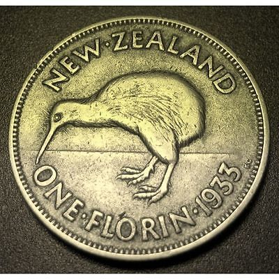 1933 New Zealand 1 Florin Silver Coin Great ! - http://coins.goshoppins.com/world-coins/1933-new-zealand-1-florin-silver-coin-great/