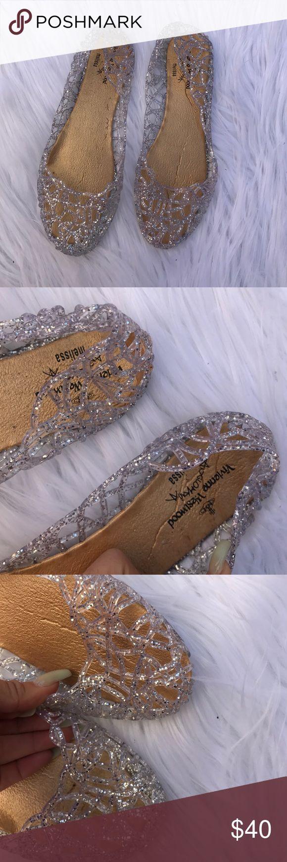 VIVIENNE WESTWOOD SZ 7 JELLY FLATS SHOES GLITTER ANGLOMANIA MELISSA VIVIENNE WESTWOOD FLATS Vivienne Westwood Shoes