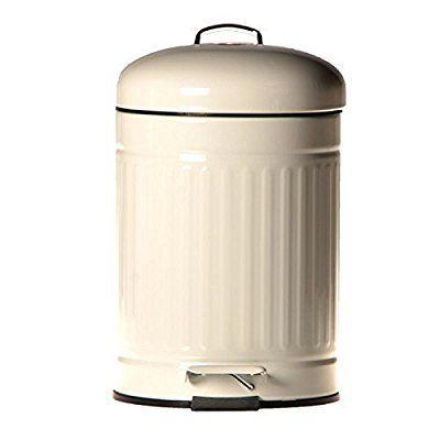 3 Liter Abfalleimer Metall Treteimer Eimer Badeimer Kosmetikeimer Mülleimer  (Weiß In Rillenoptik): Amazon