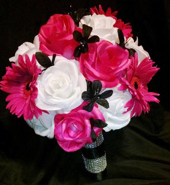 Hot Pink White Black Bridal Set Pink Bouquet by SilkFlowersByJean, $65.00