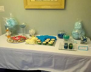 Cotton candy, jello aquariums, gummy whales and sharks, custom cookies. Sweet Table Experience! Events - Burlington Event and Wedding Planner | Dolphin Tale Birthday Party