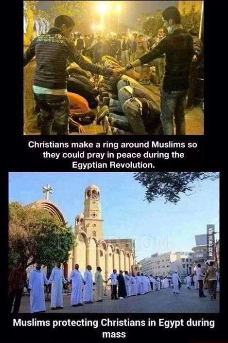 Muslims created a protective circle around the Christian mass at St. Marks's Cathedral, and the Christians did the same around Muslims at Tahiri Square, in Cairo, Egypt.