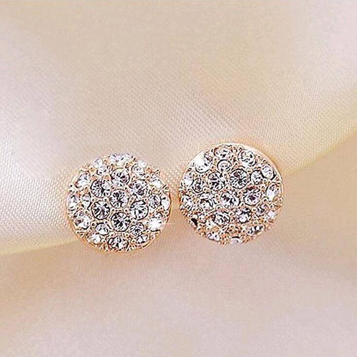 New round earrings full rhinestone heart-shaped earrings for women OL fashion elegant full rhinestone circle earrings