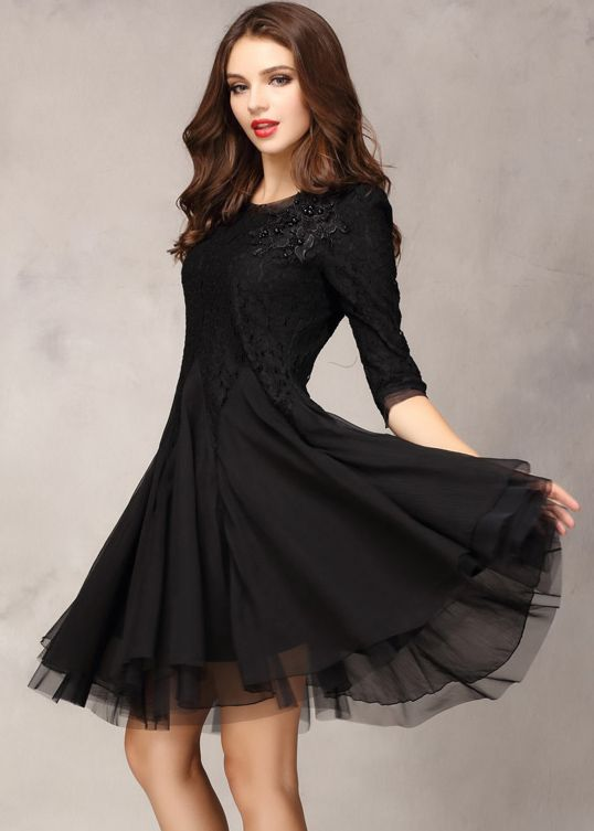 Black Half Sleeve Lace Bead Chiffon Dress