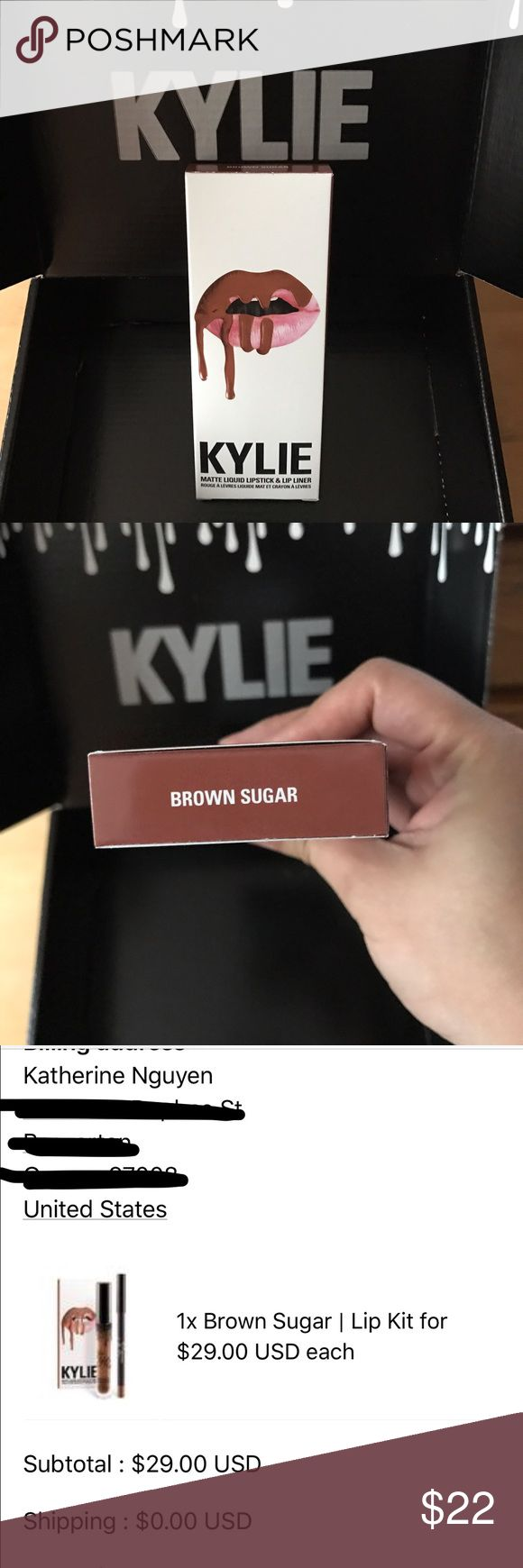 """Kylie Lip Kit """"Brown Sugar"""" Brand new, never been used. Authentic. I have a huge makeup collection that I haven't used, just like to buy whatever is trendy. However, I'm trying to sell most of my collection for school tuition so I'm just parting away with the ones I don't think I'll need. I'm not looking for a profit, just hoping to make some money back. Comes with lip liner and lip matte, but will be sent in a regular envelope. Kylie Cosmetics Makeup Lipstick"""