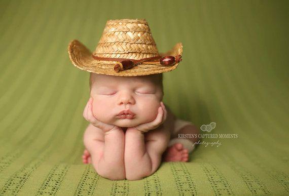 Newborn Cowboy Hat Photography Prop Country Straw by AMOSandSAWYER