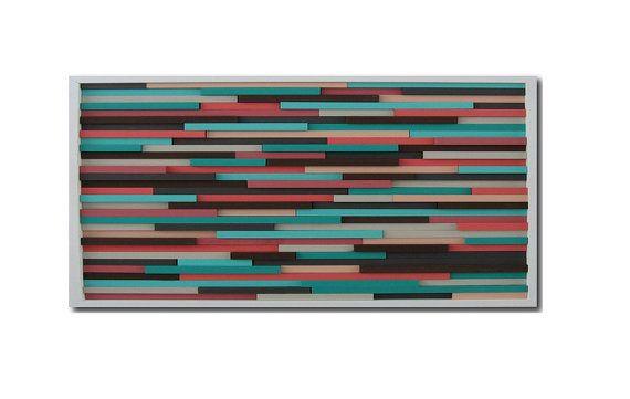 Coralli e turchese  pittura astratta  legno di ModernRusticArt, $525.00
