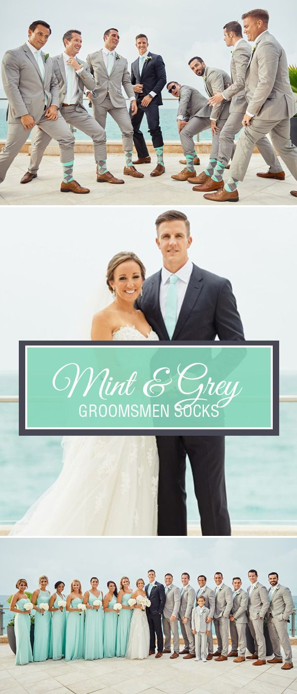 Mint green is one of the trendiest colors for weddings. As a bright and light shade of green, mint pairs well with navy, grey and even black tuxedos or suits. Give your groomsmen the gift of bold, colorful socks with our mint and heathered grey argyle socks available exclusively from Statement Sockwear. Each pair provides 100 days of clean water for someone in Rwanda. Shop these socks and more.