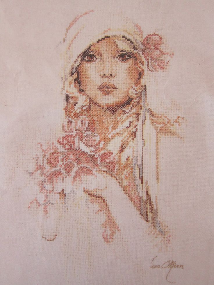 Vintage Lanarte Sara Moon 35209 Easy Cross Stitch Kit Linen Romantic Woman Rare #LanarteHolland