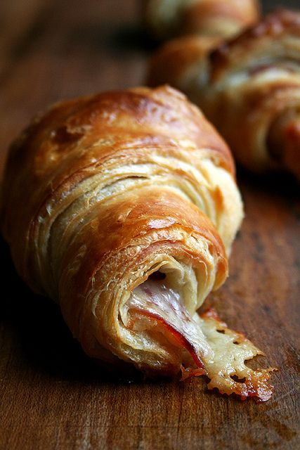 Prosciutto and Gruyere Croissants - Halved and toasted, topped with a fried egg!