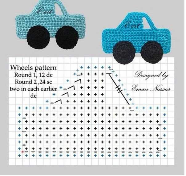 Crochet car appliqué ♥️LCM-MRS♥️ with diagram. --- Delicadezas en crochet Gabriela: Aplicaciones autitos