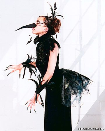 No-Sew Costume: Raven Bird Costume  A bib, a bustle, a beak, and thou: Wearing this plumed raven costume, you'll be poised to swoop all night.