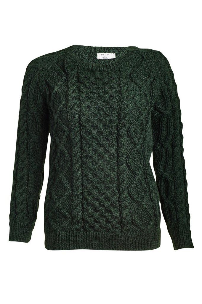 Roxie Green Wool Aran Jumper