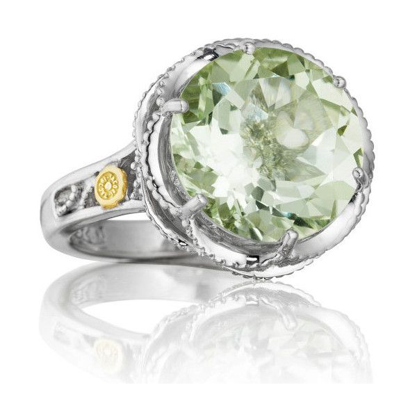 Tacori Seafoam Mint Sterling Silver Green Prasiolite Cocktail Ring (£255) ❤ liked on Polyvore featuring jewelry, rings, mint jewelry, sterling silver statement ring, green jewelry, tacori rings and green quartz jewelry