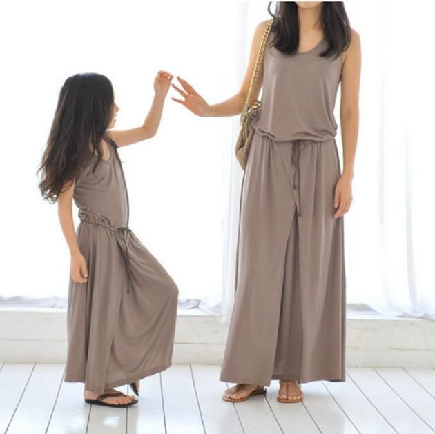 2016 New family matching clothing gray color dress summer girls clothes for mother and daughter couple looking casual cotton