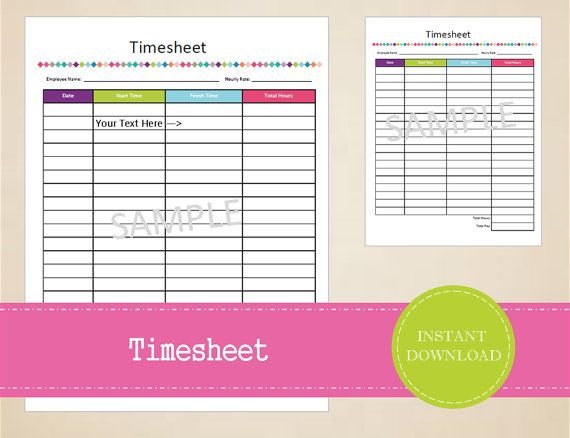 Timesheet  Business Printables  Small by MBucherConsulting on Etsy