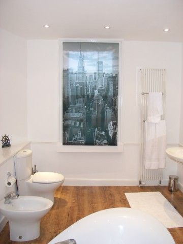 Contemporary Bathroom In Georgian Property With Bespoke Image Of Manhattan  On Roller Blind