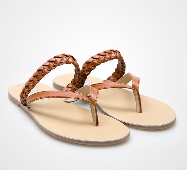 Leather Braids Sandals in brown by Tivoli. Perfect sandals for walking in sands. Flipflop with braid accents. IDR. 239.000