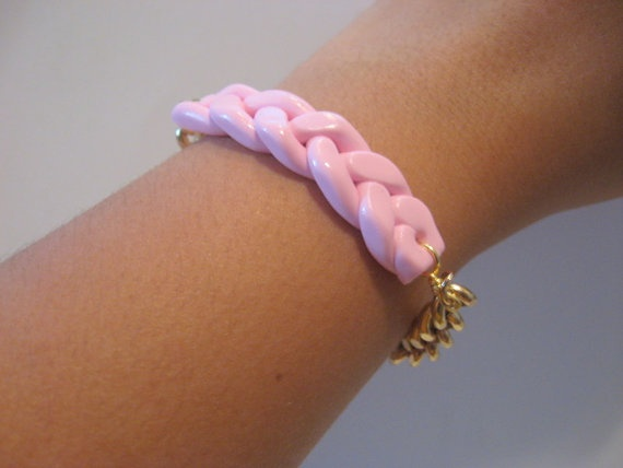 Pink Fimo Braided Bracelet
