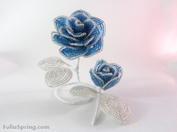 French Beaded Flowers Sky Blue Roses Mother and by FullaSpring