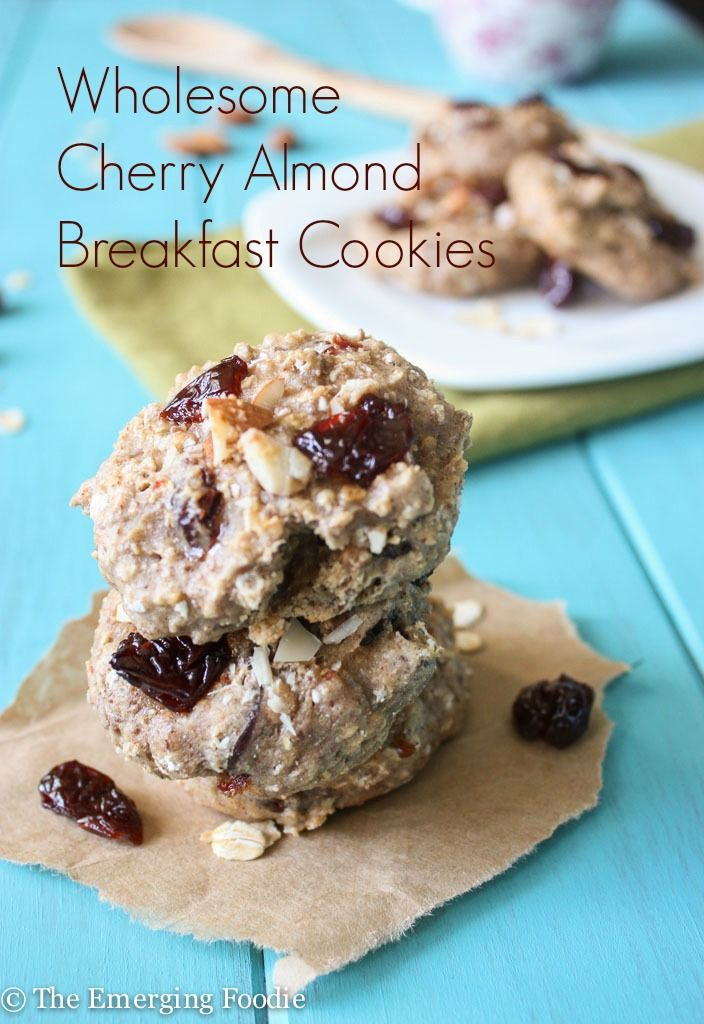 Wholesome Cherry Almond Breakfast Cookies | The Emerging Foodie. Resolution-friendly breakfast cookies are delicious like dessert yet healthy enough to fuel a marathon of a day.