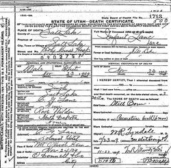 Death certificate of Rose Wilder Lane's infant son, born prematurely, Nov. 23, 1909 in Salt Lake City UT