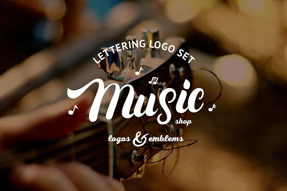 Music & Guitar Shop Logo Set by Letters-Shmetters on @creativemarket