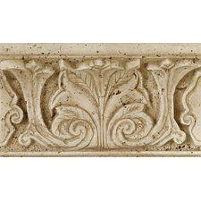 "Fashion Accents 8"" x 4"" Romanesque Decorative Shelf Rail in Acanthus Travertine"