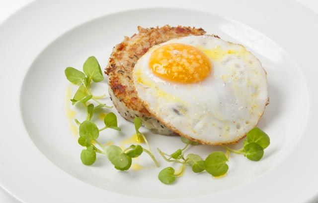 Smoked bacon hash with a fried duck egg by Adam Gray